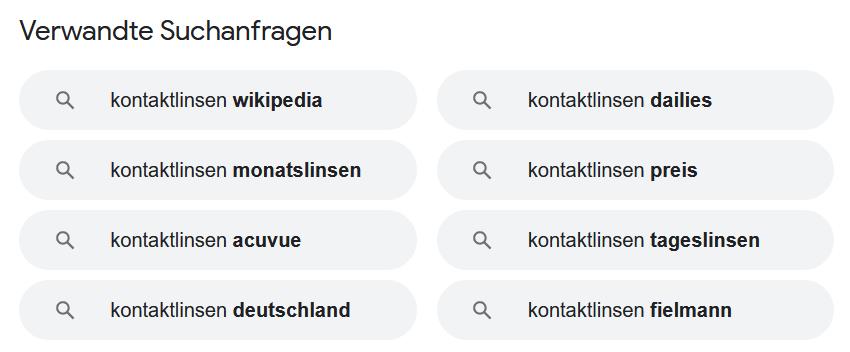Verwandte Suchanfragen bei Google
